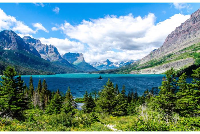 Картина из 2 частей Диптих Горное озеро
